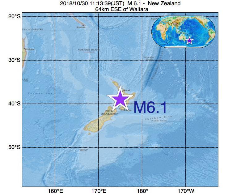 2018年10月30日 11時13分 - ニュージーランドでM6.1