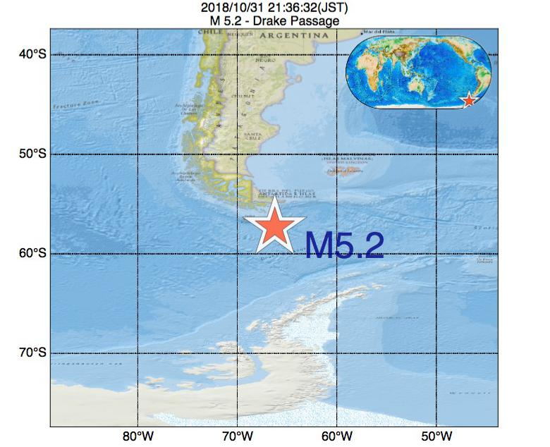 2018年10月31日 21時36分 - Drake PassageでM5.2