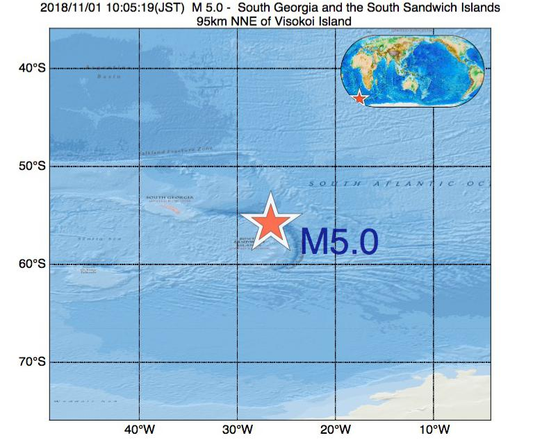 2018年11月01日 10時05分 - サウスサンドウィッチ諸島付近でM5.0
