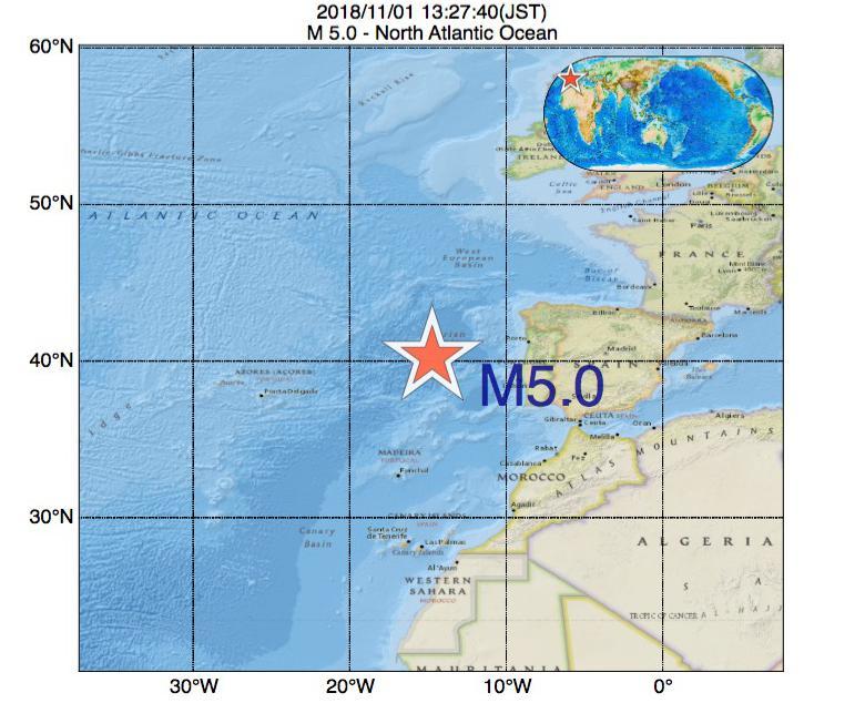 2018年11月01日 13時27分 - North Atlantic OceanでM5.0
