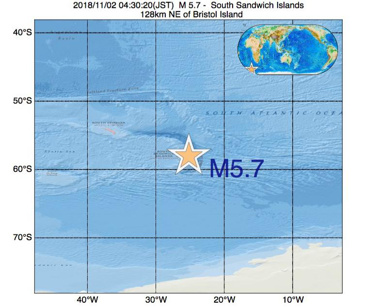 2018年11月02日 04時30分 - サウスサンドウィッチ諸島付近でM5.7