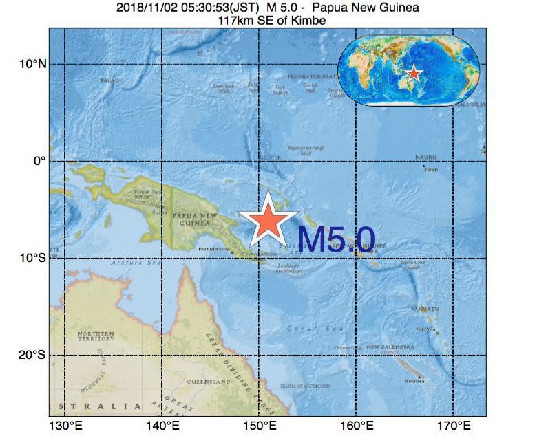 2018年11月02日 05時30分 - パプアニューギニアでM5.0