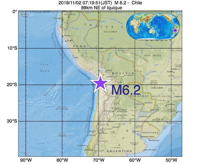 2018年11月02日 07時19分 - チリでM6.2