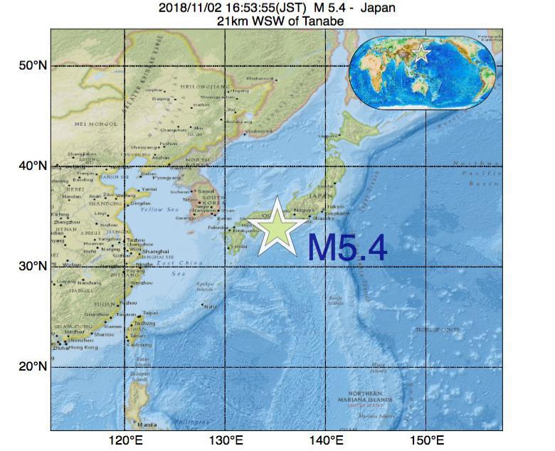 2018年11月02日 16時53分 - 日本でM5.4