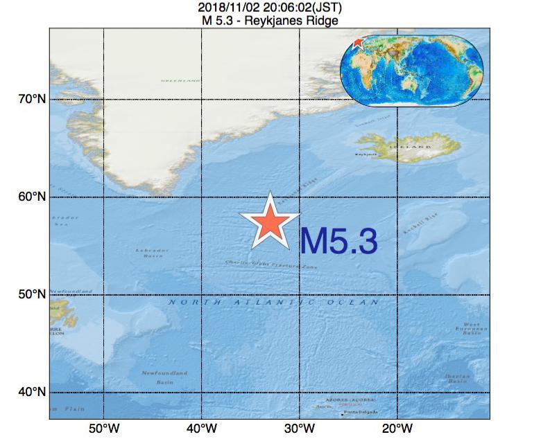 2018年11月02日 20時06分 - レイキャネス海嶺でM5.3