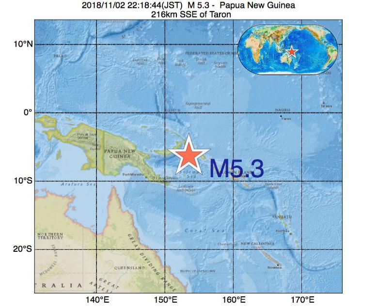 2018年11月02日 22時18分 - パプアニューギニアでM5.3