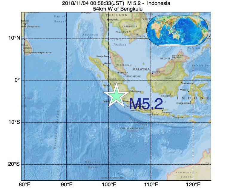 2018年11月04日 00時58分 - インドネシアでM5.2