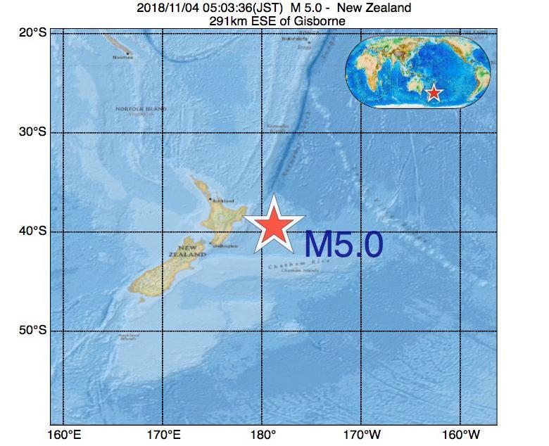 2018年11月04日 05時03分 - ニュージーランドでM5.0