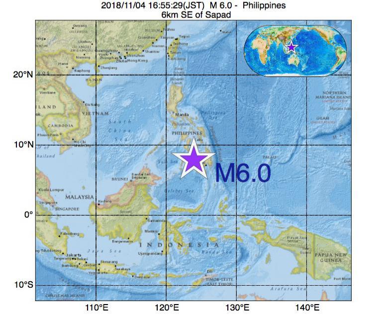 2018年11月04日 16時55分 - フィリピンでM6.0