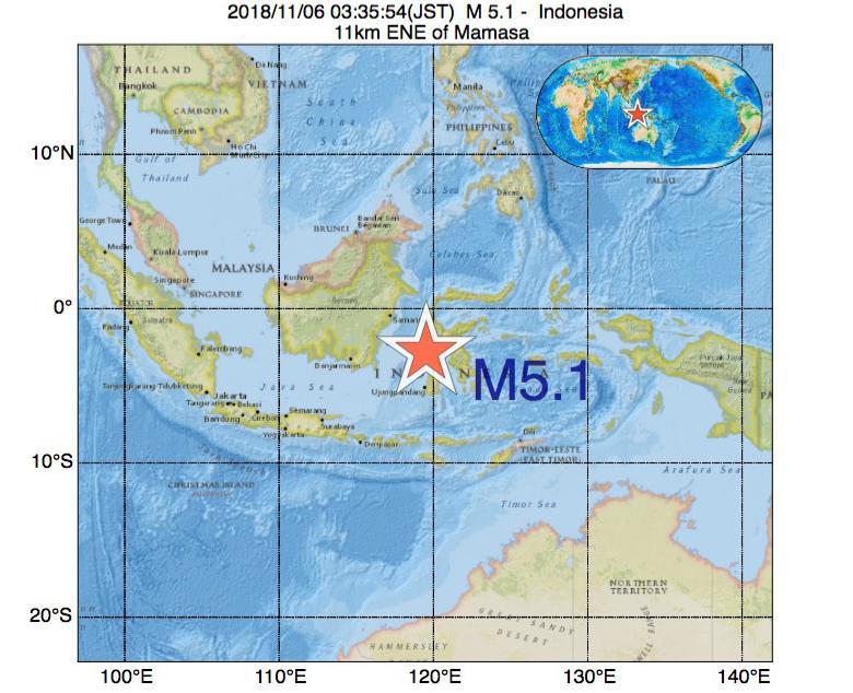 2018年11月06日 03時35分 - インドネシアでM5.1
