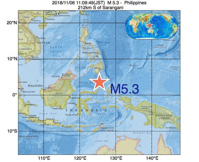 2018年11月06日 11時09分 - フィリピンでM5.3