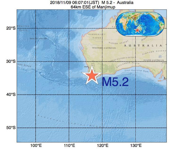 2018年11月09日 06時07分 - オーストラリアでM5.2
