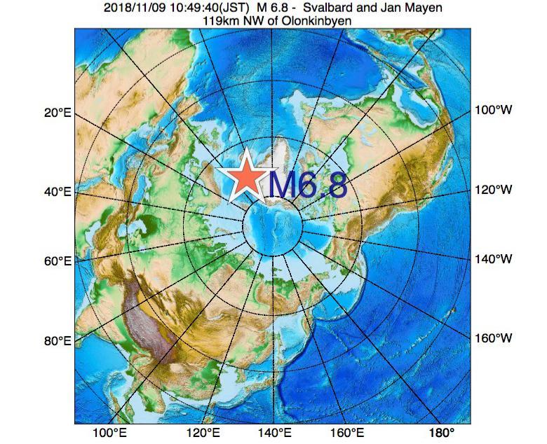 2018年11月09日 10時49分 - スヴァールバル諸島およびヤンマイエン島でM6.8