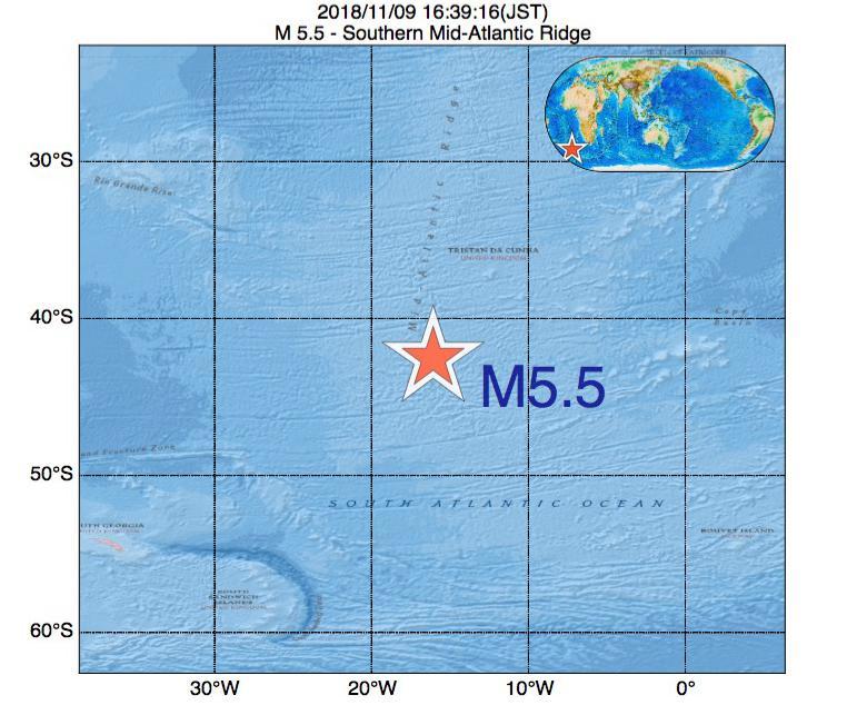 2018年11月09日 16時39分 - 大西洋中央海嶺でM5.5