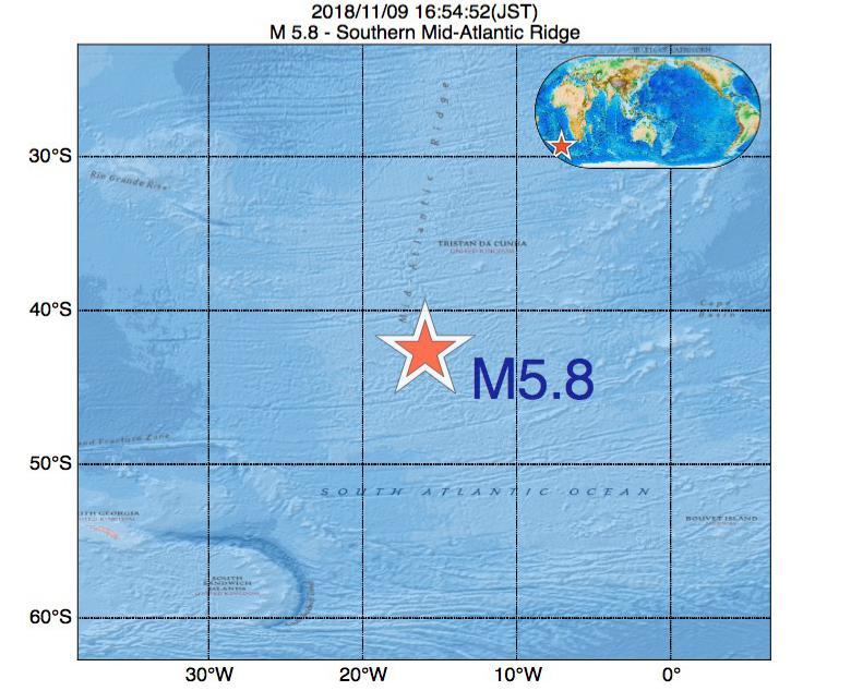 2018年11月09日 16時54分 - 大西洋中央海嶺でM5.8