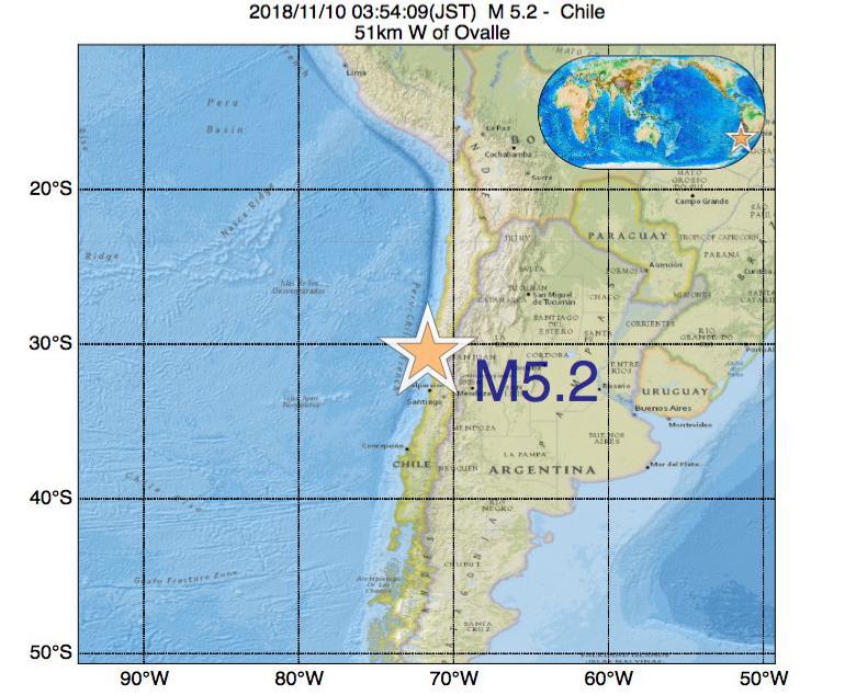 2018年11月10日 03時54分 - チリでM5.2