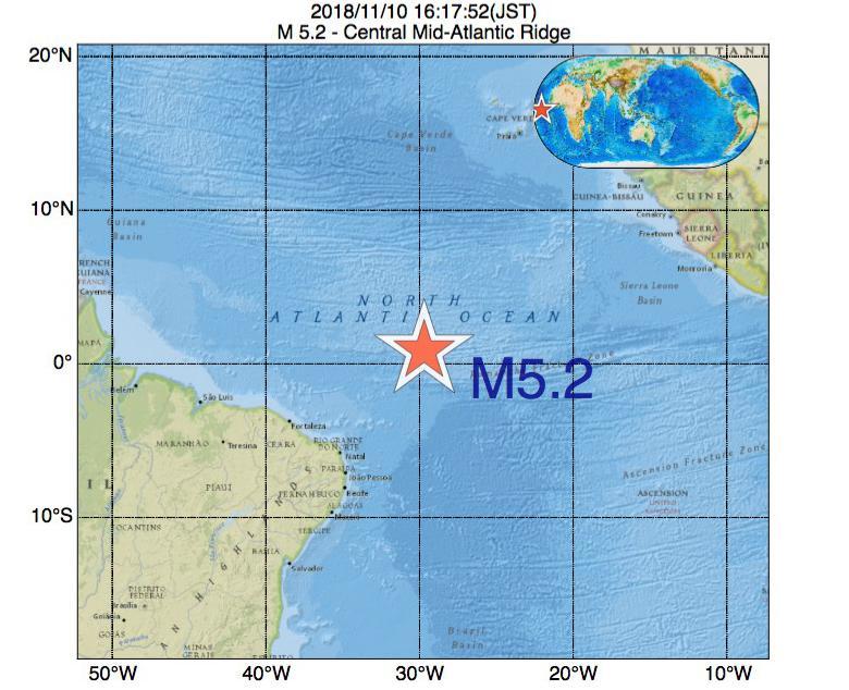 2018年11月10日 16時17分 - 大西洋中央海嶺でM5.2