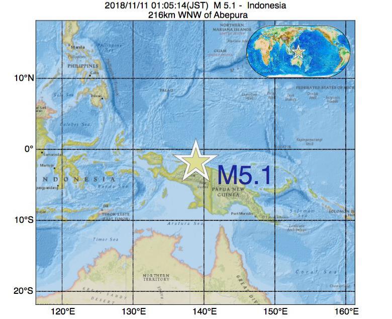 2018年11月11日 01時05分 - インドネシアでM5.1