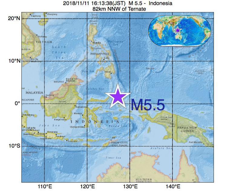 2018年11月11日 16時13分 - インドネシアでM5.5