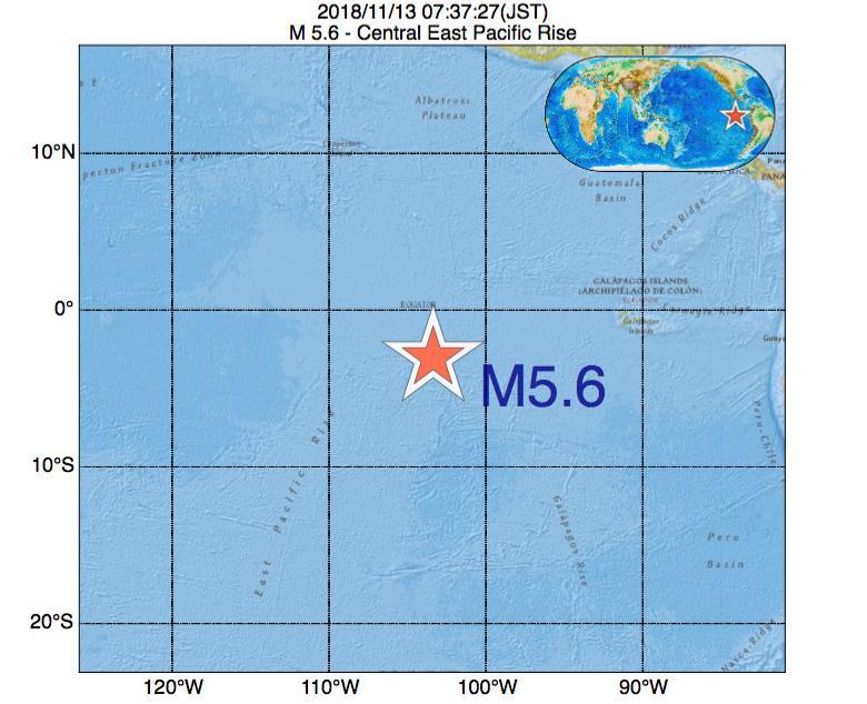 2018年11月13日 07時37分 - 中央東太平洋海嶺でM5.6