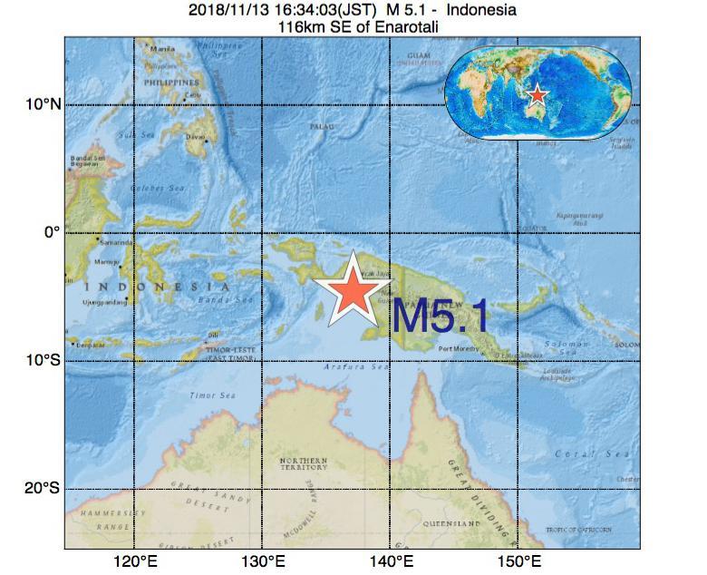 2018年11月13日 16時34分 - インドネシアでM5.1