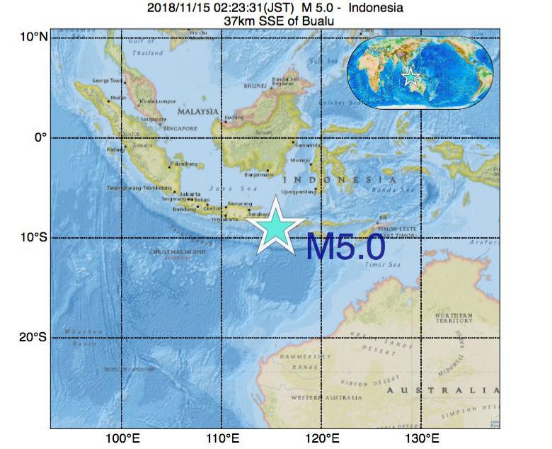 2018年11月15日 02時23分 - インドネシアでM5.0