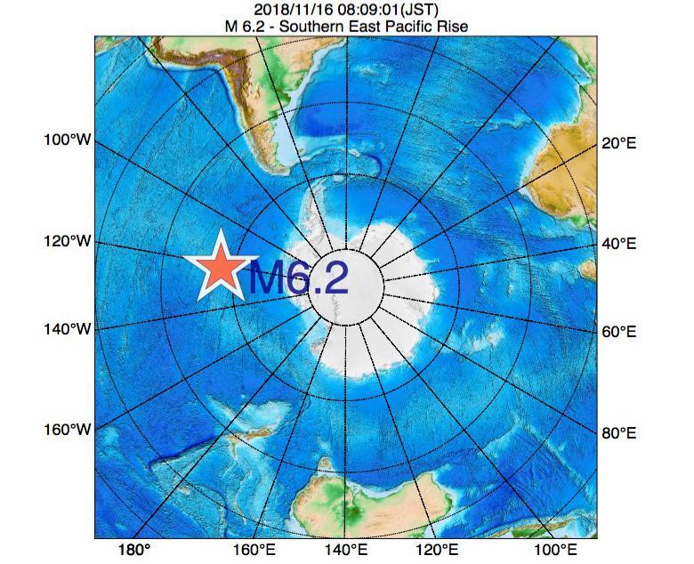 2018年11月16日 08時09分 - 東太平洋海嶺南方でM6.2