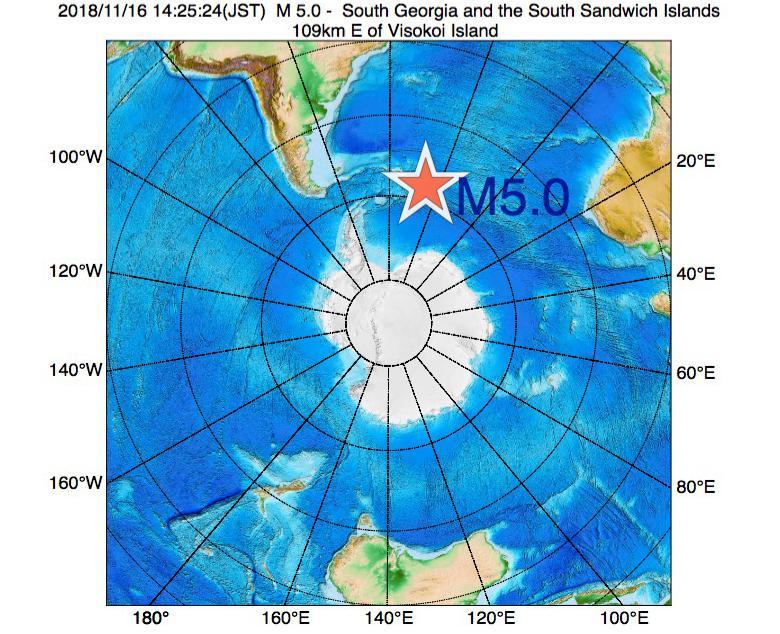 2018年11月16日 14時25分 - サウスサンドウィッチ諸島付近でM5.0