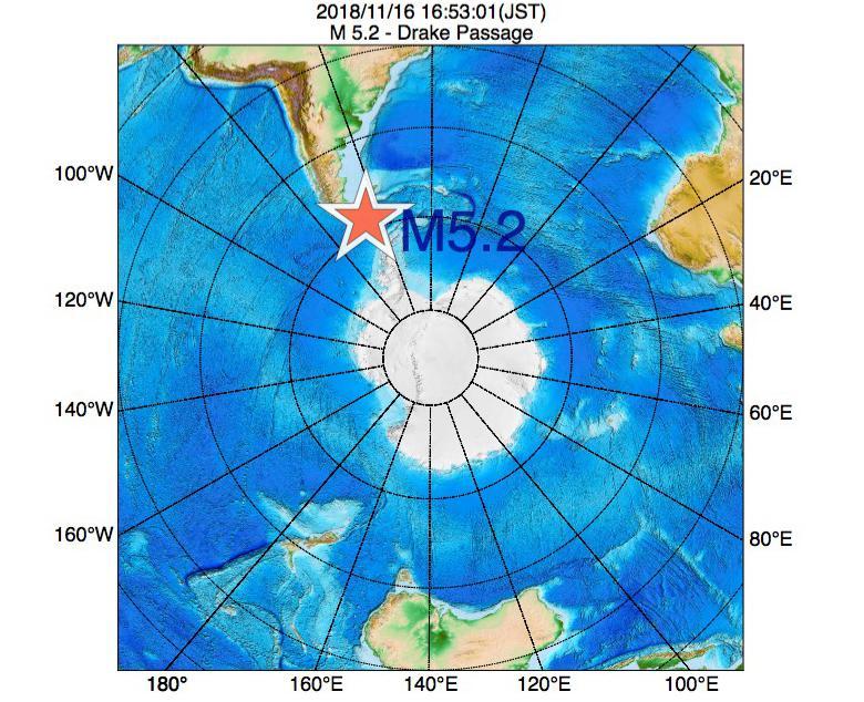 2018年11月16日 16時53分 - Drake PassageでM5.2