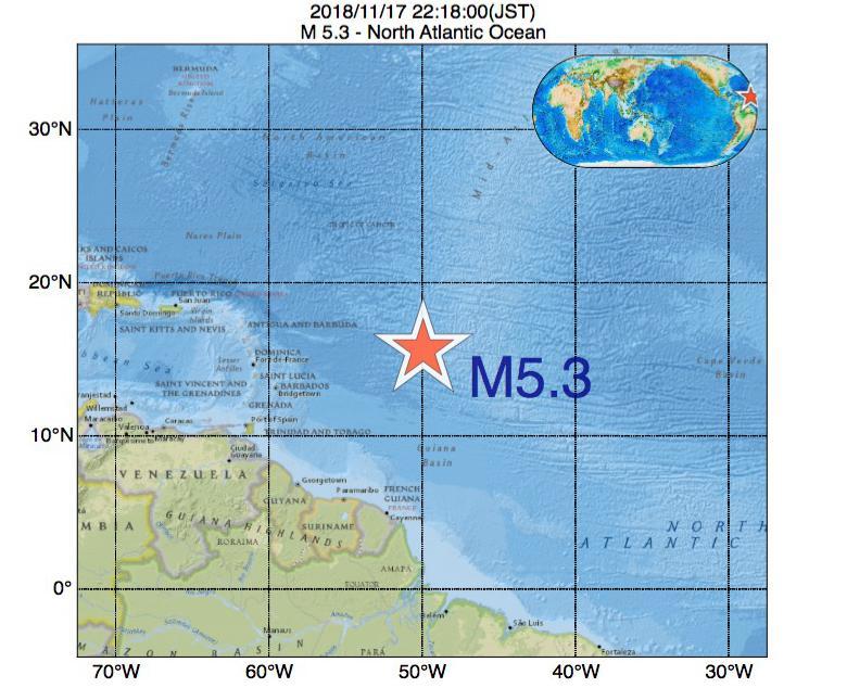 2018年11月17日 22時18分 - North Atlantic OceanでM5.3