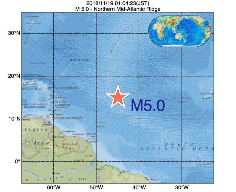 2018年11月19日 01時04分 - 大西洋中央海嶺北部でM5.0