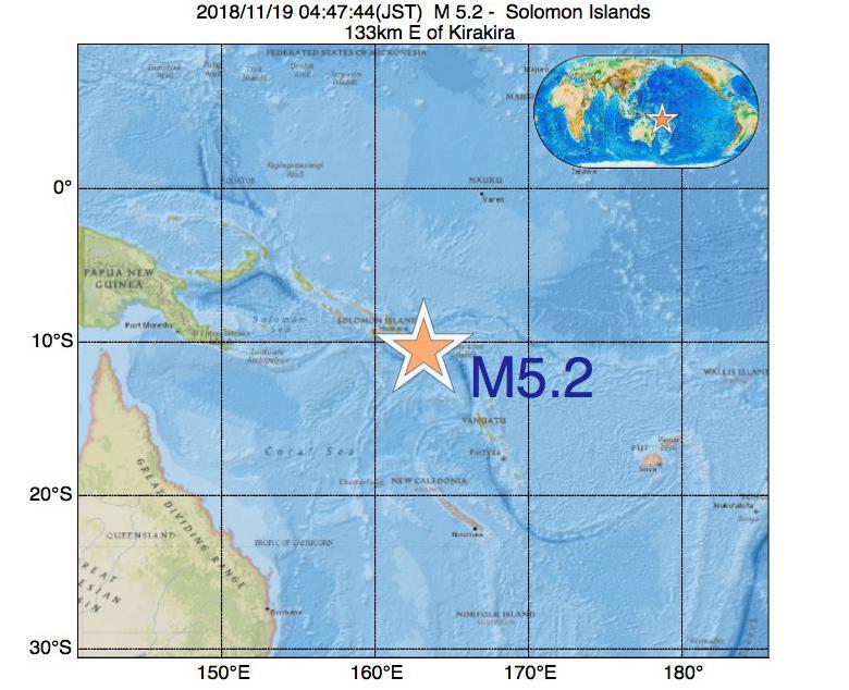 2018年11月19日 04時47分 - ソロモン諸島でM5.2