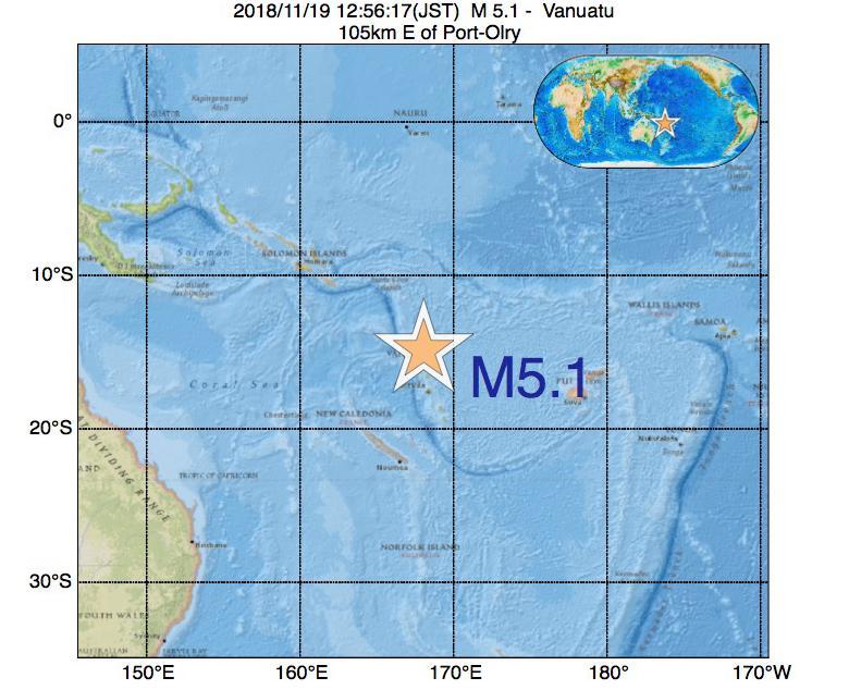 2018年11月19日 12時56分 - バヌアツ付近でM5.1