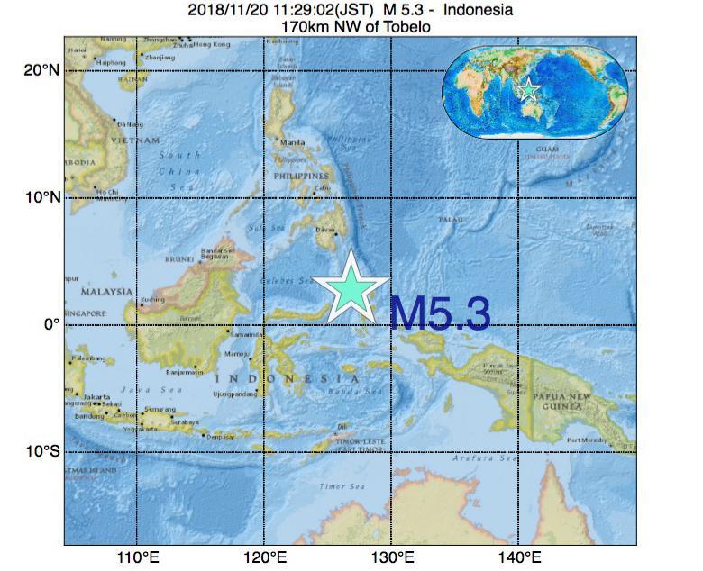 2018年11月20日 11時29分 - インドネシアでM5.3
