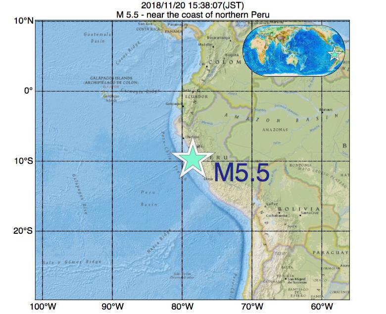 2018年11月20日 15時38分 - near the coast of northern PeruでM5.5