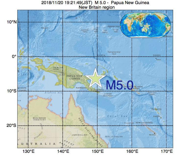 2018年11月20日 19時21分 - パプアニューギニアでM5.0