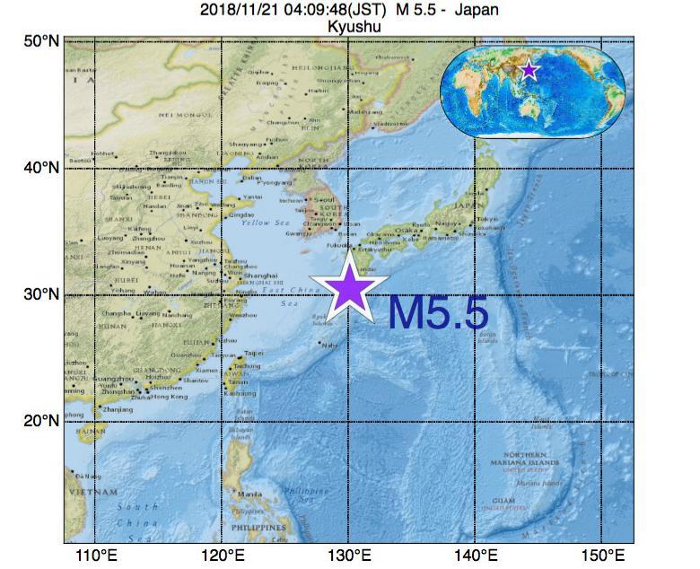 2018年11月21日 04時09分 - 日本でM5.5