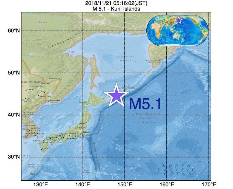 2018年11月21日 05時16分 - 千島列島でM5.1