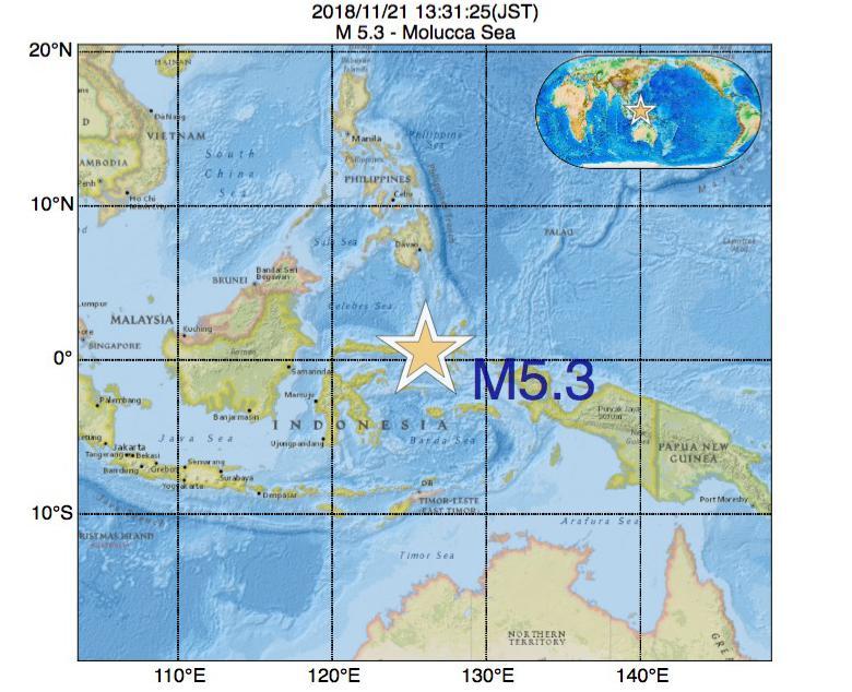 2018年11月21日 13時31分 - Molucca SeaでM5.3