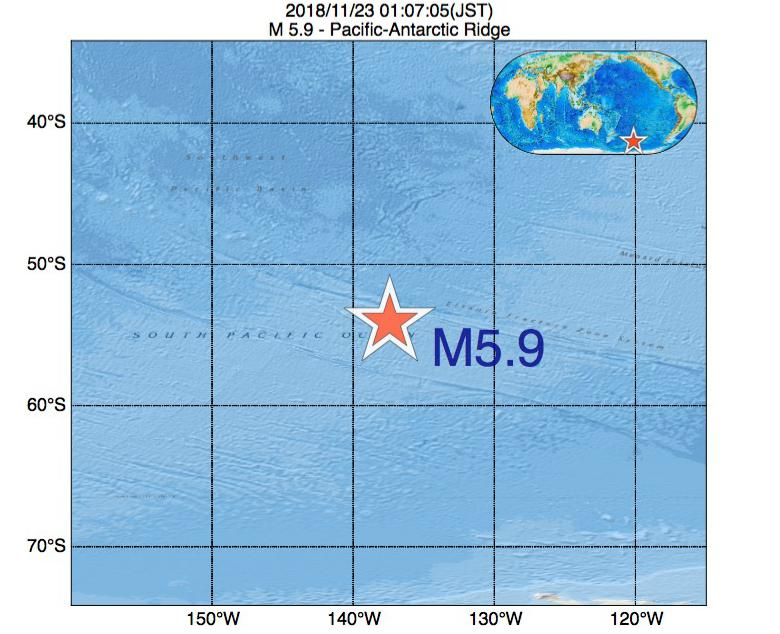 2018年11月23日 01時07分 - 太平洋南極海嶺でM5.9
