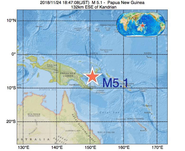 2018年11月24日 18時47分 - パプアニューギニアでM5.1