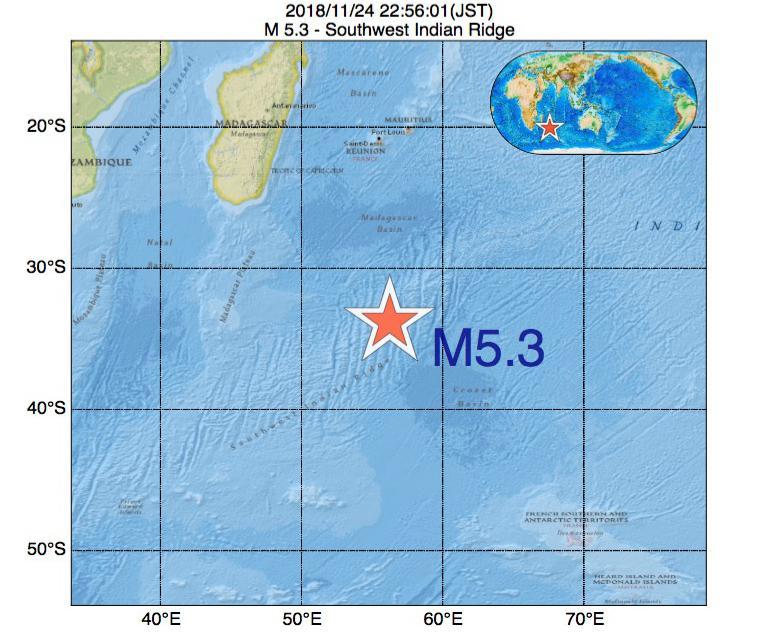 2018年11月24日 22時56分 - 南西インド洋海嶺でM5.3