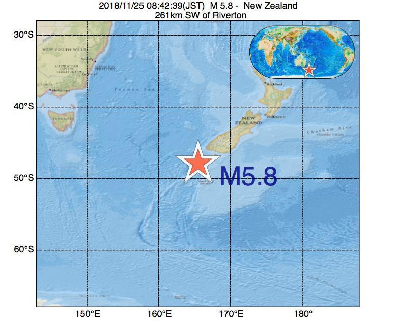 2018年11月25日 08時42分 - ニュージーランドでM5.8