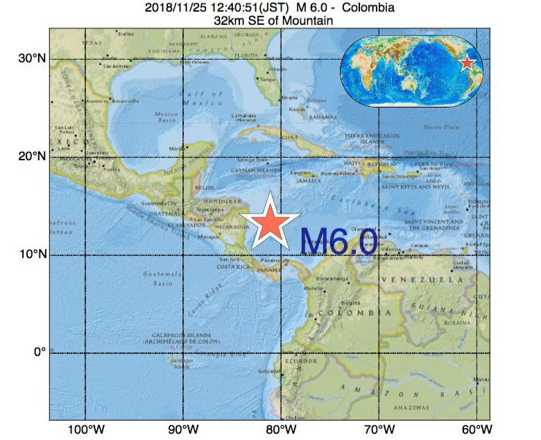 2018年11月25日 12時40分 - コロンビアでM6.0