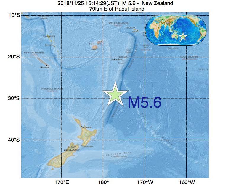 2018年11月25日 15時14分 - ニュージーランドでM5.6
