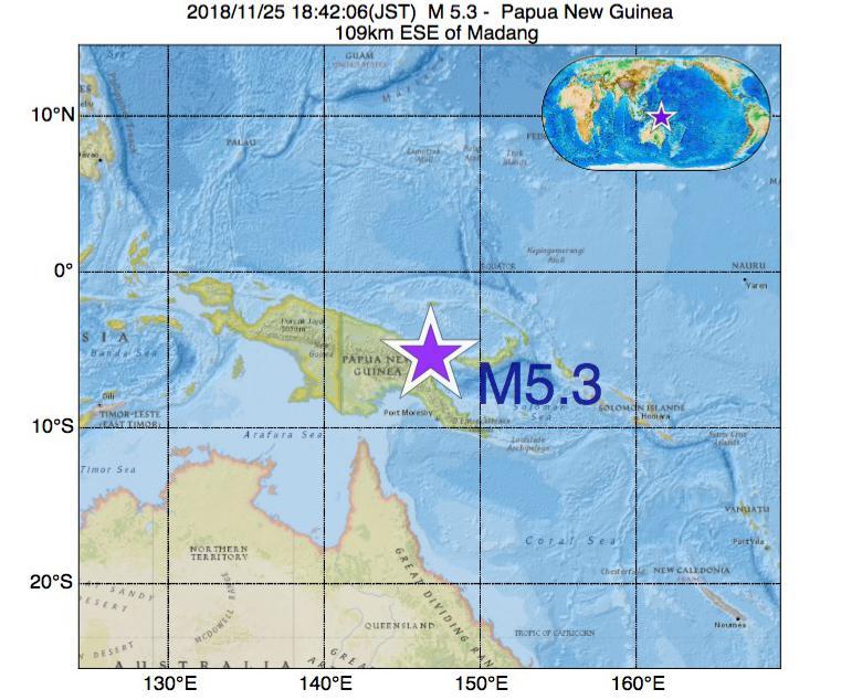 2018年11月25日 18時42分 - パプアニューギニアでM5.3