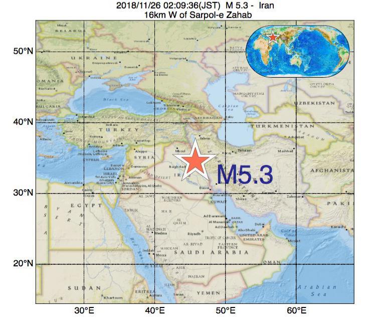 2018年11月26日 02時09分 - イランでM5.3