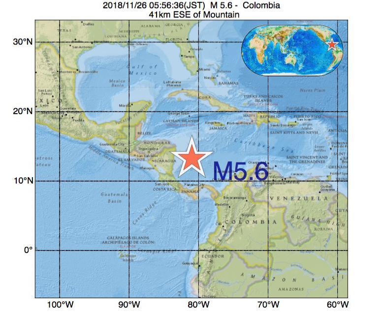 2018年11月26日 05時56分 - コロンビアでM5.6