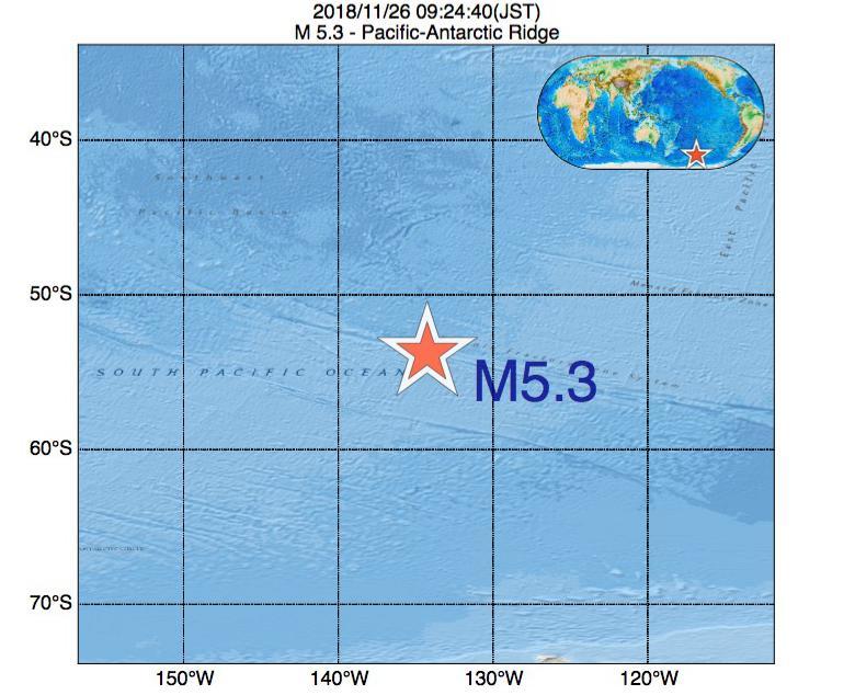 2018年11月26日 09時24分 - 太平洋南極海嶺でM5.3