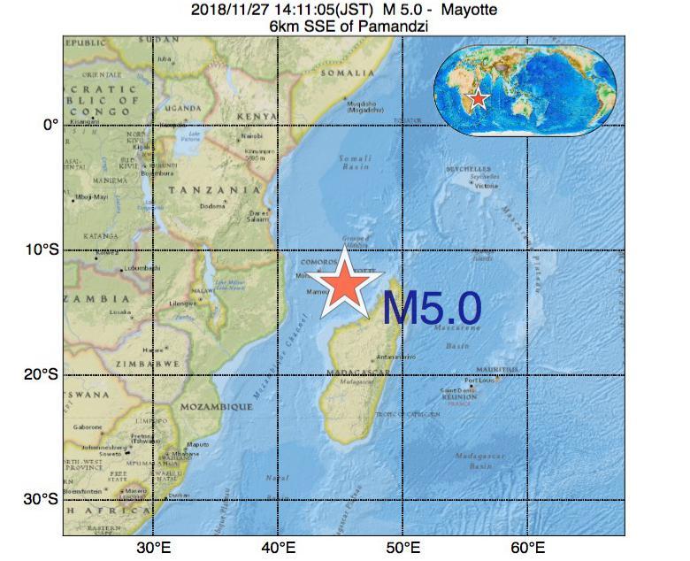 2018年11月27日 14時11分 - マヨット島でM5.0